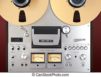 Analog Stereo Open Reel Tape Deck Recorder VU Meter Closeup