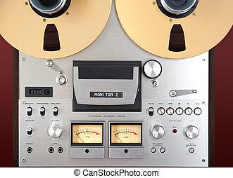 Analog Stereo Open Reel Tape Deck Recorder VU Meter Closeup