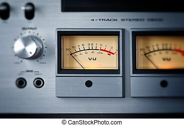 Analog Stereo Open Reel Tape Deck Recorder VU Meter
