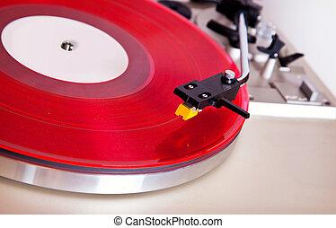 Analog Stereo Turntable Red Vinyl Record Player Headshell Cartridge