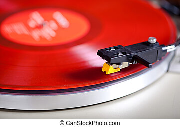 Analog Stereo Turntable Vinyl Red Record Player Headshell Cartridge