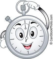 Analog Stopwatch Mascot - Mascot Illustration Featuring an...