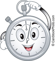 Mascot Illustration Featuring an Analog Stopwatch Pressing its Button