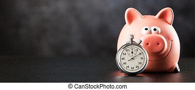 Analog stopwatch closeup on black background