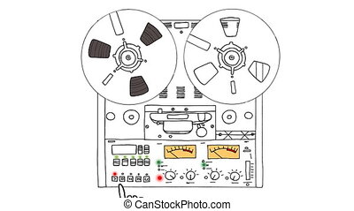 Analog tape recorder - Retro tape recorder. Hand pushes the ...