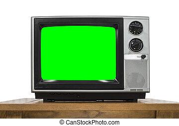 Analog Television on White with Chroma Key Green Screen