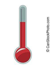 analog thermometer icon - flat design analog thermometer...