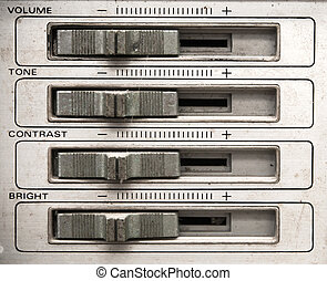 Analog tv control panel with volume, tone, contrast, brightness control slider