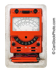 Analog vintage multimeter in box isolated on white