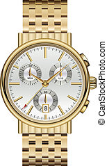 Analog watch elegant luxury gold.