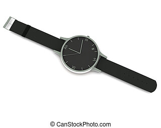 Analog wristwatch isolated on white background. High quality...
