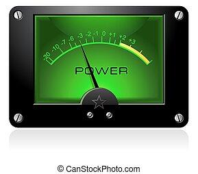 analogový, elektronický, vu, znamení, měřič