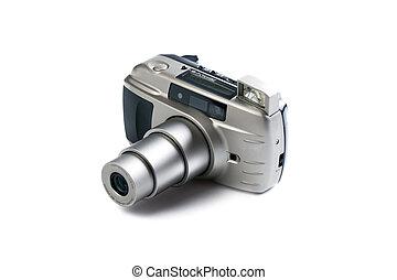 analogue 35 mm camera on white background