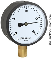 Analogue metal manometer with brass screw thread