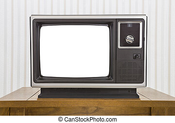 Analogue Portable Television on Table with Cut Out Screen