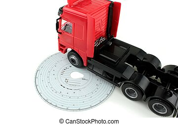 Analogue Tachograph card and truck, on white background