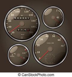 analoog, set, oud, tachometers, fashioned