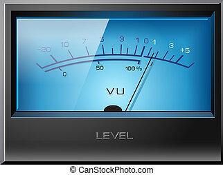 analoog, signaal, vu, meter, vector