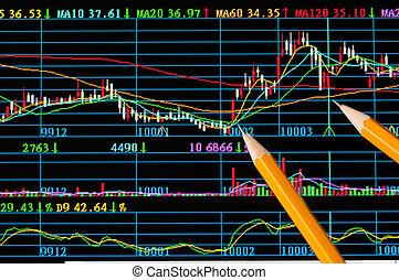 analys, färgrik, aktie tablå, på, övervaka