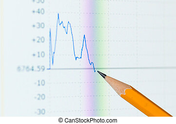analyse, coloré, diagramme action, sur, moniteur
