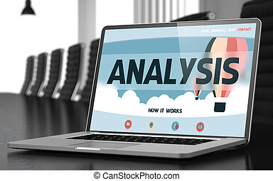 analyse, concept, op, draagbare computer, screen., 3d.