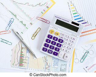 analyse, diagrammen, en, grafieken, van, omzet