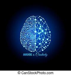 analyse, et, créativité, concept