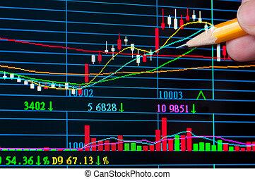 analyse, farverig, aktie kort, på, dataskærm