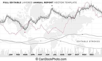 analyse, finanziell, global, report., editable, statistik, jährlich, chart.