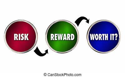 analyse, il, risque, récompense, évaluation, illustration, ...