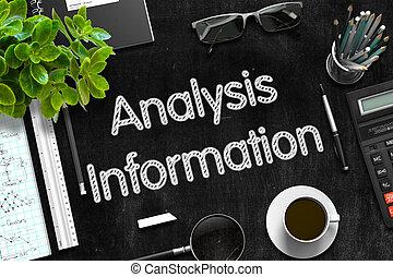 analyse, informatie, op, black , chalkboard., 3d, rendering.