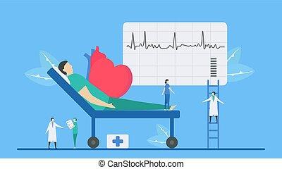 analyse, maladie coeur, vecteur, cardiologie, système, illustration., arrhythmia., problème, ceci, diagnostique, signal., périodique, échec