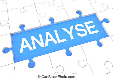 Analyse - puzzle 3d render illustration with word on blue background
