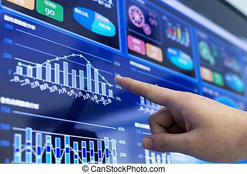 analyse, rapport financier, cliqueter, business