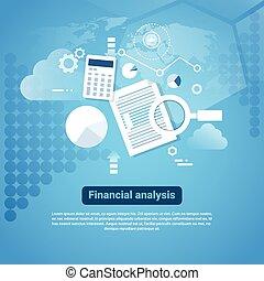 analyse, schablone, banner, kopie, web, begriff, finanziell, raum