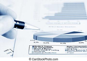 analyse, van, beursmarkt, rapporten
