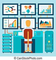 analyse, van, informatie, op, dashboard