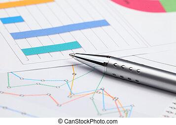 analyse, van, zakelijk, grafieken