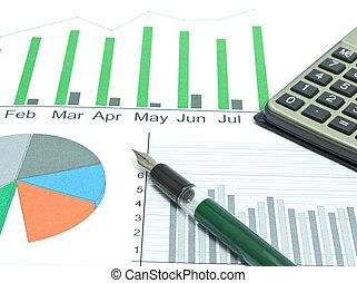 analyse, van, zakelijk, graphs.