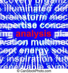 analyse, woord, het tonen, controleren, probing, 3d, vertolking