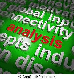 analyse, woord, wolk, optredens, sonde, examen