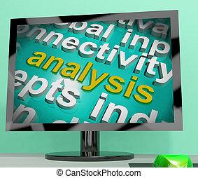 analyse, woord, wolk, scherm, optredens, sonde, examen
