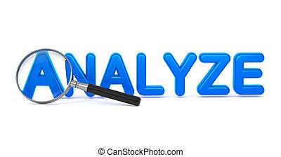 analyseren, -, blauwe , 3d, woord, door, een, vergroten,...