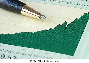 analyseren, de, investering, terugkeren
