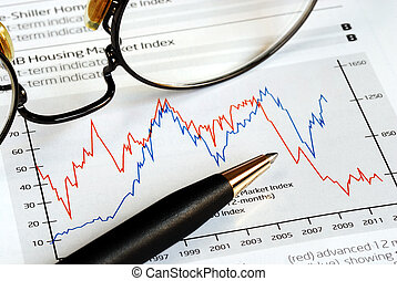 analyseren, de, investering, trend