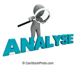 analyseren, karakter, optredens, onderzoek, analyse, of, analyzing