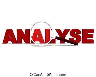 analyseren, woord, optredens, analytics, analyse, of, analyzing