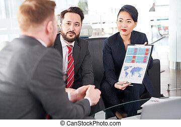 analysieren, arbeit, ergebnisse, mit, kollegen
