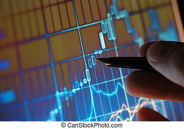analysieren, börse- diagramm