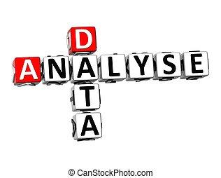 analysieren, kreuzworträtsel, hintergrund, weißes, daten, 3d
